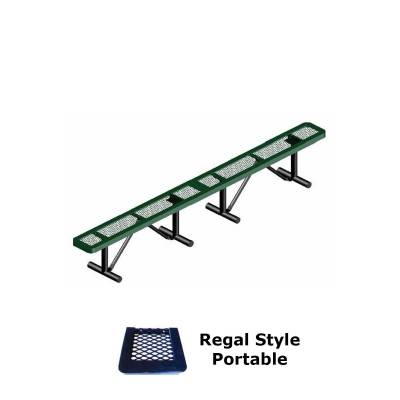 Park Benches - Thermoplastic Coated - 10' and 15' Regal Backless Bench - Portable, Surface and Inground Mount