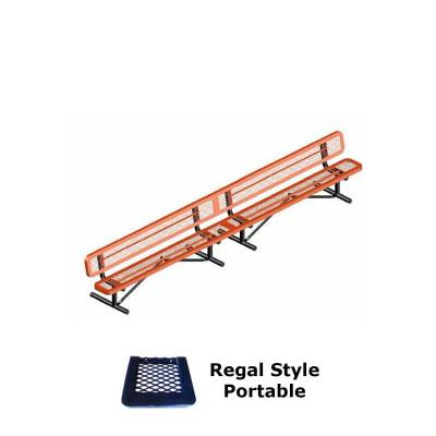 Park Benches - Thermoplastic Coated - 10' and 15' Regal Bench - Portable, Surface and Inground Mount