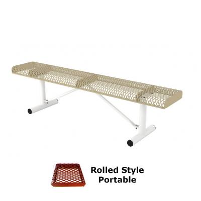 Park Benches - Thermoplastic Coated - 6' and 8' Rolled Backless Bench - Portable, Surface and Inground Mount