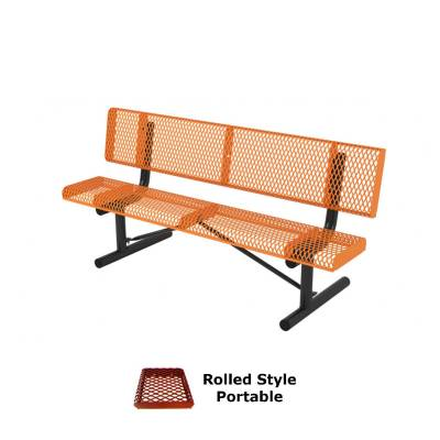 Park Benches - Thermoplastic Coated - 6' and 8' Rolled Style Bench - Portable, Surface and Inground Mount