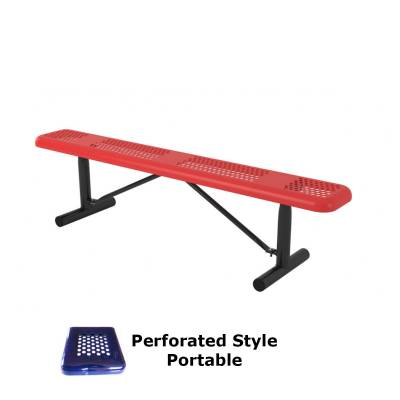 Park Benches - Thermoplastic Coated - 6' and 8' Perforated Backless Bench - Portable, Surface and Inground Mount