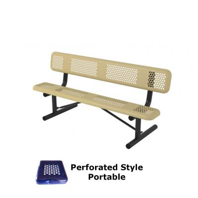 Park Benches - Thermoplastic Coated - 6' and 8' Perforated Style Bench - Portable, Surface and Inground Mount