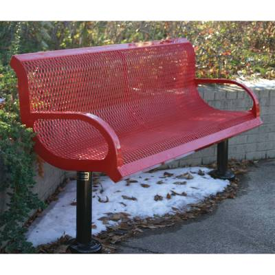 Park Benches - Thermoplastic Coated - 4' and 6' Wingline Style Bench - Portable, Surface and Inground Mount