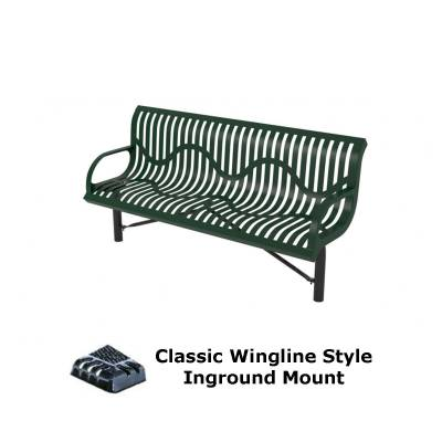Park Benches - Thermoplastic Coated - 4' and 6' Classic Wingline Bench - Portable, Surface and Inground Mount