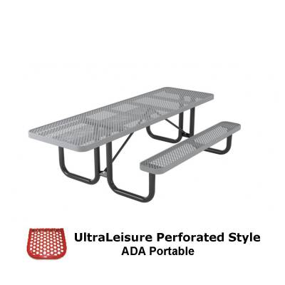Picnic Tables - 8' UltraLeisure Perforated Picnic Table, ADA - Portable