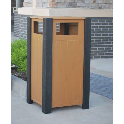 Trash Disposal - Recycled Plastic Trash Receptacles - Quick Ship - 32 Gallon Ridgeview Recycled Plastic Trash Receptacle - Quick Ship
