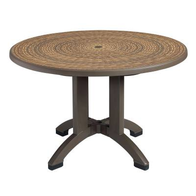 """Grosfillex Patio Furniture - Resin Tables - 48"""" Round Aquaba Resin Table - Wicker Decor"""