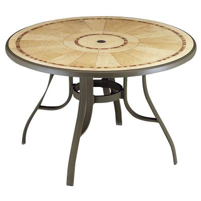 "Grosfillex Patio Furniture - Resin Tables - 48"" Round Louisiana Table - Pietra Decor"