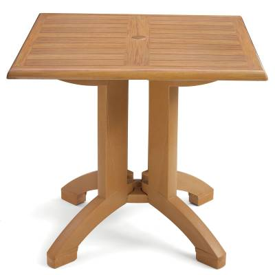 "Grosfillex Patio Furniture - 32"" Square Atlanta Teakwood Decor Table"