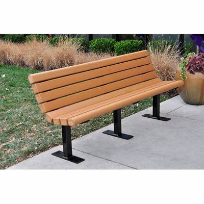 4', 6' and 8' Jameson Recycled Plastic Bench - Surface and Inground Mount - Quick Ship - Image 1