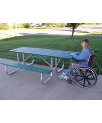 7 1/2' Recycled Plastic Picnic Table with (2) 6 Ft. Attached Seats, Galvanized Frame - ADA - Portable - Quick Ship - Image 1