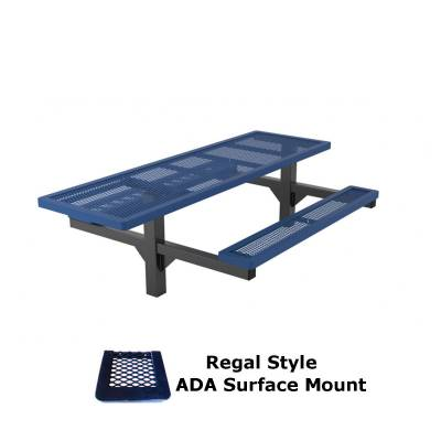8' Regal Pedestal Picnic Table, ADA - Surface and Inground Mount - Image 2