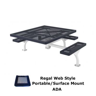 "Picnic Tables - ADA Accessible - 46"" x 57"" ADA Regal Web Picnic Table - Surface and Inground Mount"