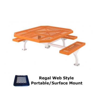 "46"" x 57"" Octagon ADA Regal Web Picnic Table - Surface and Inground Mount - Image 1"