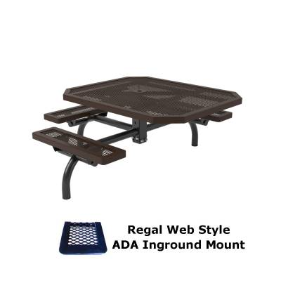 """46"""" x 57"""" Octagon ADA Regal Web Picnic Table - Surface and Inground Mount - Image 2"""