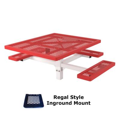 """46"""" x 57"""" Regal Picnic Table, ADA - Inground and Surface Mount - Image 1"""