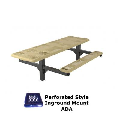8' Perforated Pedestal Picnic Table, ADA - Inground and Surface Mount - Image 1