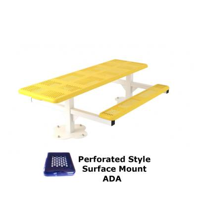 8' Perforated Pedestal Picnic Table, ADA - Inground and Surface Mount - Image 2