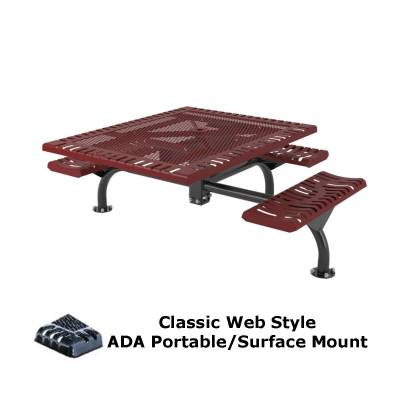 "Picnic Tables - 46"" x 57"" Classic Web Picnic Table, ADA - Surface and Inground Mount"