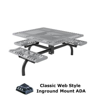 "46"" x 57"" Classic Web Picnic Table, ADA - Surface and Inground Mount - Image 2"