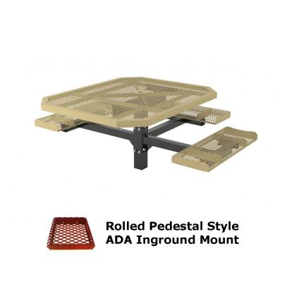 "Picnic Tables - 46"" x 57"" Octagon Rolled Pedestal Picnic Table, ADA - Inground and Surface Mount"
