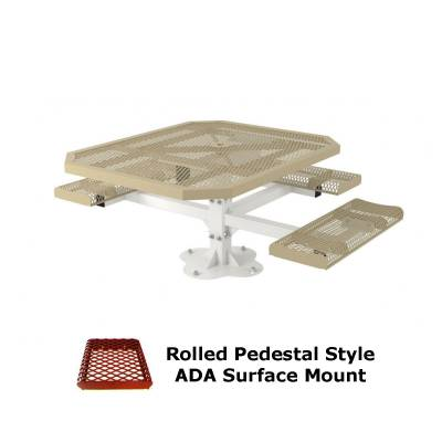 "46"" x 57"" Octagon Rolled Pedestal Picnic Table, ADA - Inground and Surface Mount - Image 2"