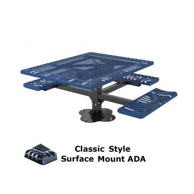 "46"" x 57"" Classic Pedestal Picnic Table, ADA - Inground and Surface Mount - Image 2"