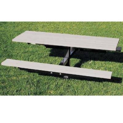Picnic Tables - Natural Wood - 4' and 6' Aluminum Picnic Table - Surface and Inground Mount