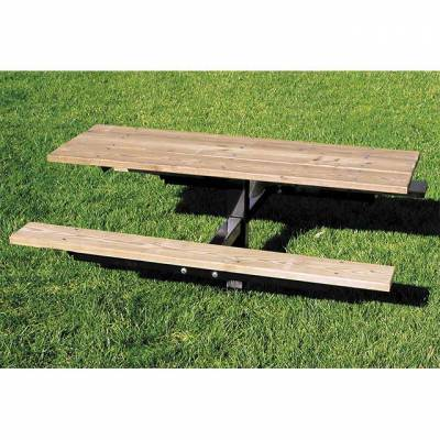 Picnic Tables - Natural Wood - 6' Wood Picnic Table - Inground Mount