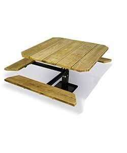 "Picnic Tables - ADA Accessible - 48"" Square ADA Picnic Table with (3) Seats - Surface and Inground Mount"