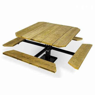 """Picnic Tables - Natural Wood - 48"""" Square Picnic Table - Surface and Inground Mount"""