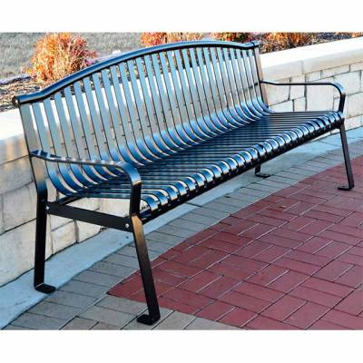 Park Benches - Coated Metal - 6' Rockford Bench- Portable/Surface Mount - Quick Ship