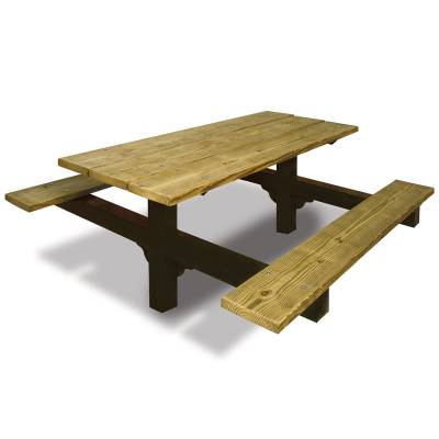 Picnic Tables - Natural Wood - 6' and 8' Wood Picnic Table - Inground Mount