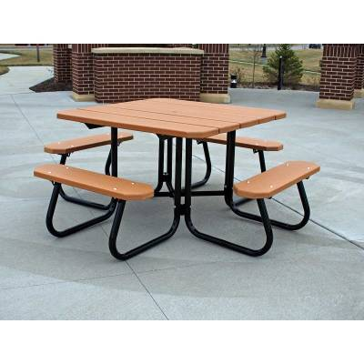 """Picnic Tables - Recycled Plastic - Quick Ship - 48"""" Square Recycled Plastic Table, Portable  - Quick Ship"""