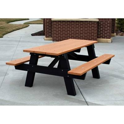6' and 8' Recycled Plastic A Frame Picnic Table, Portable - Image 1