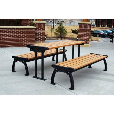 6' Recycled Plastic Heritage Picnic Table, Surface Mount - Quick Ship - Image 1