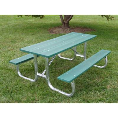 Picnic Tables - Recycled Plastic - Quick Ship - 6' and 8' Recycled Plastic Picnic Table with Galvanized Frame - Portable/Surface Mount - Quick Ship