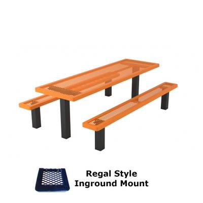 Picnic Tables - Patio Tables and Seating - 6' and 8' Regal Picnic Table with (2) Unattached Seats - Surface or Inground Mount