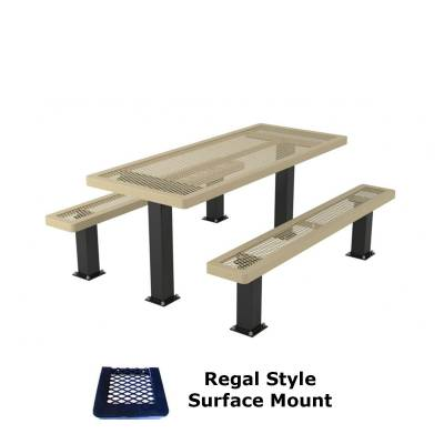 6' and 8' Regal Picnic Table with (2) Unattached Seats - Surface or Inground Mount - Image 2