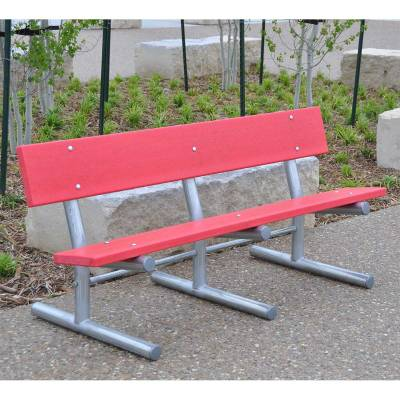 Park Benches - Recycled Plastic - Quick Ship - 6' Madison Recycled Plastic Bench – Portable, Surface and Inground Mount - Quick Ship