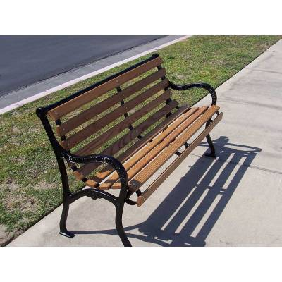 4', 5, 6' and 8' Iron Valley Slatted Bench - Portable/Surface Mount. - Image 2