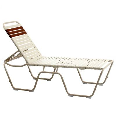 Poolside Furniture - Vinyl Strap Furniture - Mid-high Welded Contract Lido Stack Strap Chaise