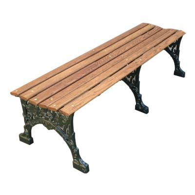 "Park Benches - Cast Aluminum - 4', 5' and 80"" Renaissance Backless Bench - Portable/Surface Mount"