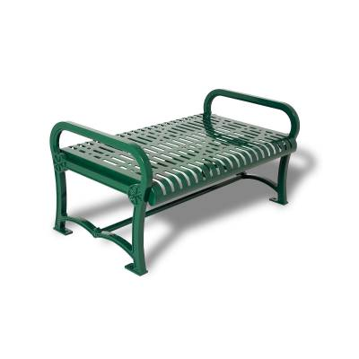Park Benches - Cast Aluminum - 4' Charleston Cast Aluminum Backless Bench - Portable/Surface Mount.