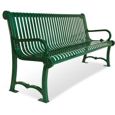 Park Benches - 4' and 6' Charleston Cast Aluminum Bench - Portable/Surface Mount.