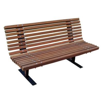 Park Benches - Natural Wood - 4', 5, 6, and 8' Palisade Contour Bench - Surface Mounted/Inground Mount.