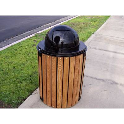 32 Gallon Township Trash Receptacle - Oak Slats - Image 2