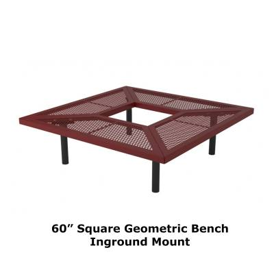 "Park Benches - Thermoplastic Coated - 60"" - 96"" Square Geometric Benches, Surface and Inground Mount"