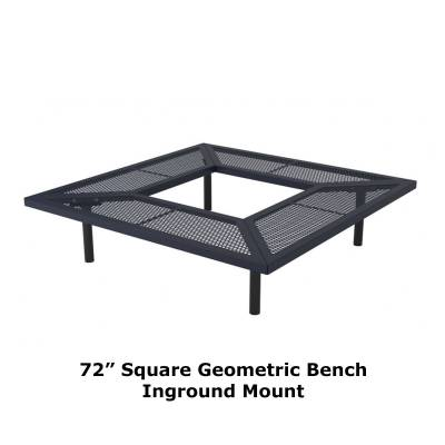 "72"" & 96"" Square Geometric Benches, Surface and Inground Mount - Image 3"