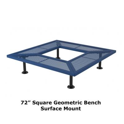 "72"" & 96"" Square Geometric Benches, Surface and Inground Mount - Image 4"